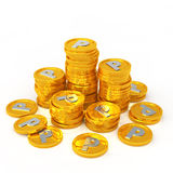Gold coins point Stock Images