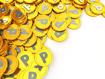 Gold coins point Royalty Free Stock Photo
