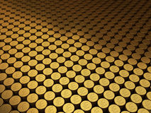 Gold coins pound signs. 3d render Gold coins pound signs stacking (depth of field Royalty Free Stock Photo