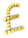 Gold coins pound signs. 3d render Gold coins pound signs ( on white and clipping path Royalty Free Stock Photos