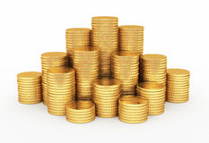 Gold coins pyramid shape royalty free stock images