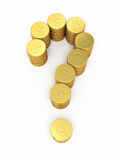 Gold coins on question mark. 3d render gold coins on question mark (isolated on white and clipping path Royalty Free Stock Photography
