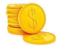 Gold coins. Render of gold coins,  on white Stock Photo