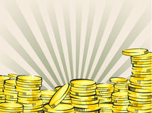 Gold coins in retro cartoon style. Golden money  illustration. Business success, bank credits, deposit, investment, saving, Royalty Free Stock Photography