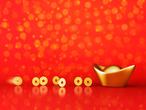 Gold Coins Rolling Towards Gold Sycee - Yuanbao Royalty Free Stock Photo