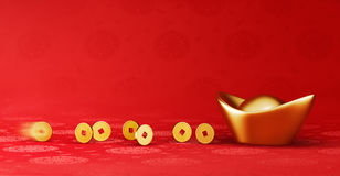Gold Coins Rolling Towards Gold Sycee - Yuanbao Stock Photos