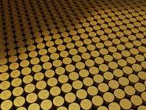 Gold coins rupee signs. 3d render Gold coins rupee signs stacking (depth of field Stock Images