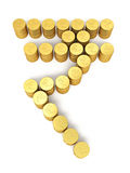 Gold coins rupee signs Stock Photos