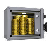 Gold coins in a safe. Isolated render on a white background Royalty Free Stock Photos