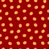 Gold coins. Seamless texture. Red background Royalty Free Stock Photo