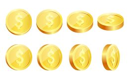 Gold coins set isolated on white in different positions. royalty free illustration