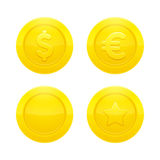 Gold Coins set. Realistic gold coins icon set euro, dollar, blank and star isolated on white background. Business and finance vector illustration Stock Image