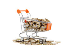Gold coins in shopping cart Stock Images