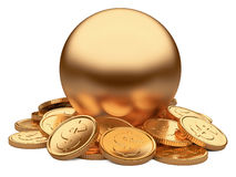 Gold coins and sphere isolated on white background Royalty Free Stock Photos