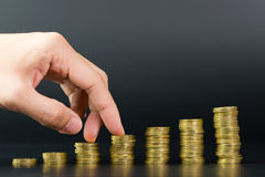 Gold coins stack Stock Image