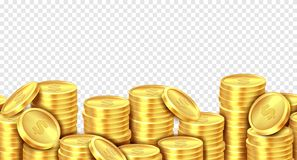 Gold coins stack. Realistic golden coin money pile, stacked dollar lots pile cash bonus profits casino market income stock illustration