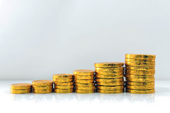 Gold coins stack. Royalty Free Stock Photos