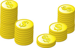 Gold Coins Stacked Royalty Free Stock Photography