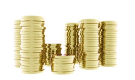 Gold coins stacked Stock Photos