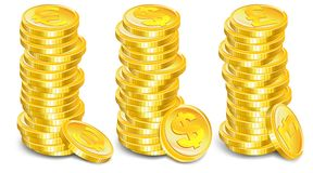 Gold coins stacks Stock Photos