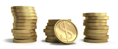 Gold coins in stacks with dollar sign 3d illustration on a white Royalty Free Stock Photos
