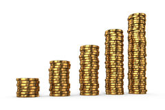 Gold coins stacks Royalty Free Stock Photo