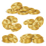 Gold Coins Stacks Vector. Golden Finance Icons, Sign, Success Banking Cash Symbol. Realistic Isolated Illustration Royalty Free Stock Photography