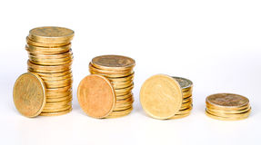 Gold coins staircase Stock Images