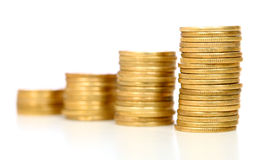 Gold coins staircase Stock Photography