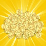 Gold coins on sunburst background Stock Image