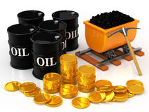 The gold coins to coal and oil barrel Royalty Free Stock Images
