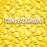 Gold coins top view background with place for text eps 10 Royalty Free Stock Photo