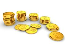 Gold coins towers. finance success Royalty Free Stock Photography