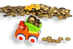 Gold coins transportation Royalty Free Stock Images
