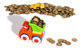 Gold coins transportation Royalty Free Stock Image