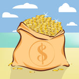 Gold coins treasure on island beach  illustration Stock Image