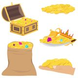 Gold coins, treasure, precious stones. Chest with gold coins and precious stones. Flat design, vector illustration, vector stock illustration