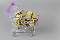 Gold Coins and Trolley - Business Concept Stock Images