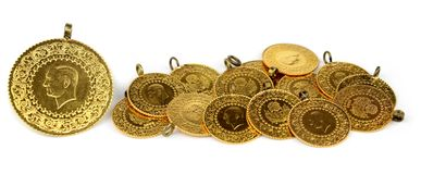 Gold coins. ( Turkish gold coins ). Royalty Free Stock Images