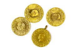 Gold Coins. 1/4 Turkish Gold Coins. Isolated on white background Royalty Free Stock Photography