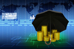 Gold coins under a black umbrella Royalty Free Stock Photo