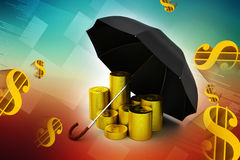Gold coins under a black umbrella Stock Photos