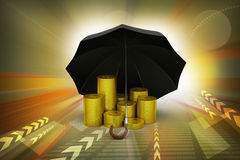 Gold coins under a black umbrella Royalty Free Stock Photos