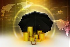 Gold coins under a black umbrella Royalty Free Stock Photography
