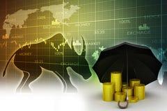 Gold coins under a black umbrella Stock Images