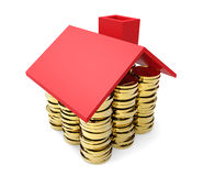 Gold coins under red roof Royalty Free Stock Images