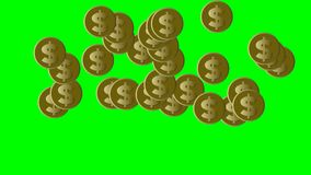 Gold coins with US dollar symbol moving on green screen, loop animation with financial business theme stock footage