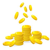 Gold coins, vector Royalty Free Stock Image