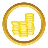 Gold coins vector icon Royalty Free Stock Images