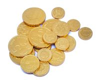 Gold coins. On white background stock photo
